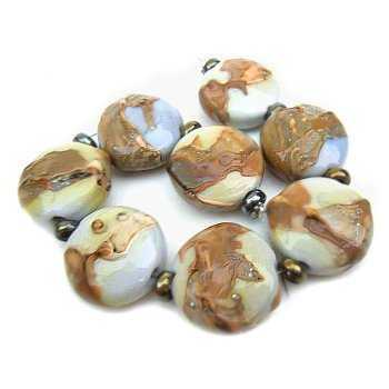 Handmade Lampwork Beads by Ian Williams ~ Silvered Pomegranate Shards