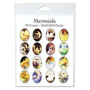 Collage Sheet - Mermaids - Oval 18mm x 25mm