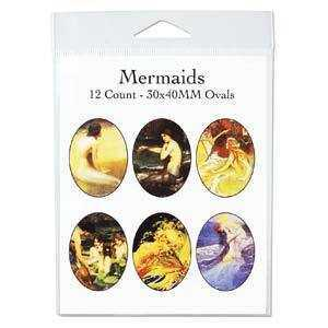 Collage Sheet - Mermaids - Oval 30mm x 40mm