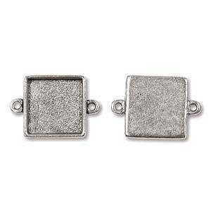 Bezel Pendant - Small Square Link - Antique Silver With Two Rings - 14.8mm x 21.1mm