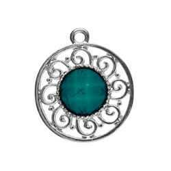 Metal Accent - Round Filigree Pendant - Silver and Turquoise x 22mm