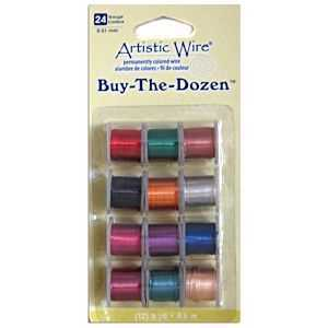 Artistic Wire - Permantley Coloured 24Ga - Pack Of 12 Assorted Colours