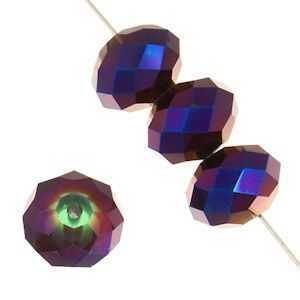 Dazzle-It Ori Crystal Faceted Donut Beads - Amethyst Luster 6x4mm