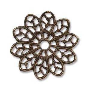 Vintaj Natural Brass - Fastenable - Filigree Flower x 20.5mm