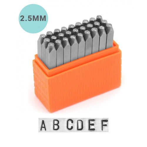 Impressart Alphabet Letter Metal Punch Stamp Set - Basic Sans Serif Upper Case x 2.5mm