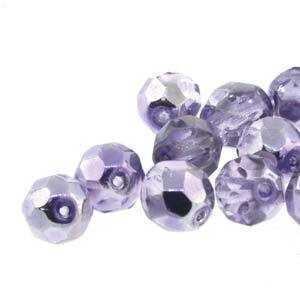 Czech Glass Round Fire Polished Beads - Mirrored Violet 8mm x 19