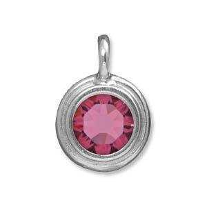 Tierracast Stepped Birthstone Charm - Rhodium Plated Rose x 16.5mm