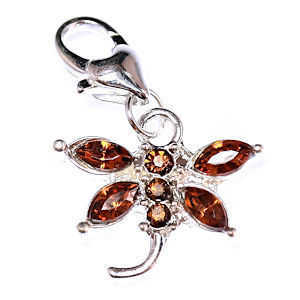 Clip On Rhinestone Charm With Lobster Clasp - Silver Plated Dragonfly x Topaz