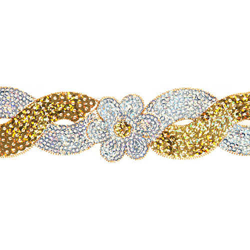 Sequin Trim Flower Swirl - Gold and Silver Hologram