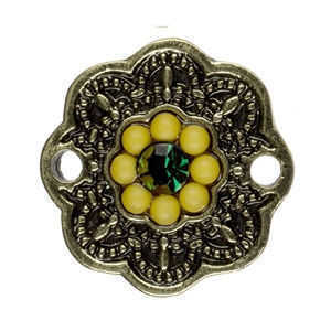 Metal Connector Charm - Antique Gold Flower x 16mmm