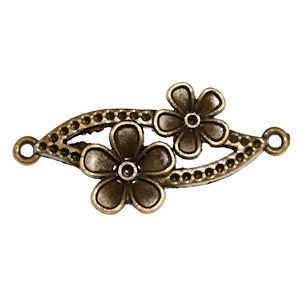 Metal Connector Link - Antique Bronze Flower Leaf x 37mm
