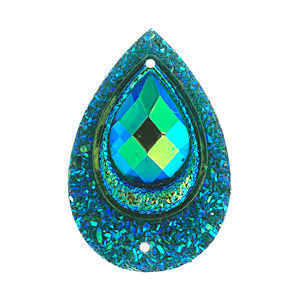 Sew-On Peacock Stones - Resin Teardrop Emerald Ab - Pack Of 10