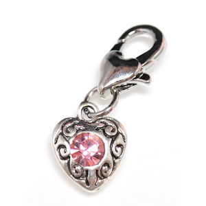 Clip On Rhinestone Charm With Lobster Clasp - Silver Plated Love Heart x Pink