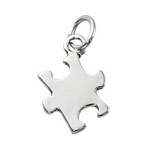 Pewter Charm with Jump Ring - Silver Plated - Puzzle Piece x 14mm