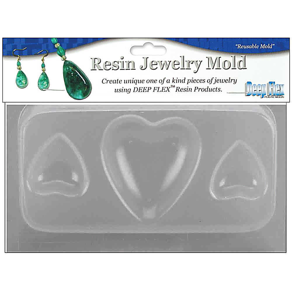 Reusable Resin Jewellery and Craft Mold ~ Hearts x 3 Cavities