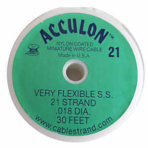 Acculon Tigertail Stainless Steel Jewelry Wire - 21 Strand .018 ~ 30Ft Roll x Clear