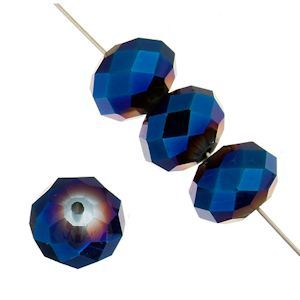 Dazzle-It Ori Crystal Faceted Donut Beads - Metallic Blue 8x10mm