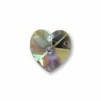 Swarovski Crystal Heart Pendant - Black Diamond AB x 10mm