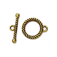 Tibetan Style Antiqued Gold Round Twisted Wire Toggle