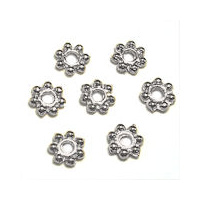 Daisy Spacer Beads - Tibetan Style Silver - 4mm x 50