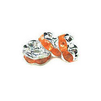 Acrylic Crystal Rhinestone Rondell Spacer Beads - Orange 8mm