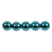 Glass Pearls - 8mm Dark Turquoise x 10
