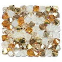 Crystal Bicone Beads - Preciosa Crystal - Honey Butter 6mm x 18