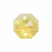 Crystal Octagon - Light Yellow Double Hole x 14mm *Seconds*