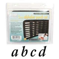 Alphabet Letter Metal Punch Stamp Set With Storage Pouch - Stylish Italic Lower Case x 3mm