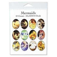Collage Sheet - Mermaids - Oval 22mm x 30mm