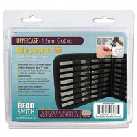 Alphabet Letter Metal Punch Stamp Set With Storage Pouch - Gothic Upper Case x 1.5mm