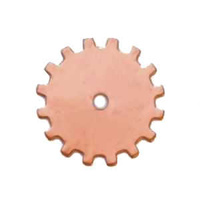 Metal Stamping Blank - 24ga Copper Gear Solid x 19mm