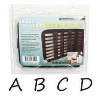 Alphabet Letter Metal Punch Stamp Set With Storage Pouch - Handwritten Upper Case x 2mm