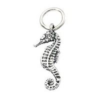 Sterling Silver Charm with Jump Ring - Seahorse x 18mm