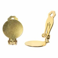 Clip-On Earrings With Disc - Gold Plated x 15mm - 1 Pair