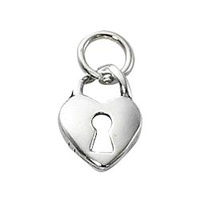 Pewter Charm with Jump Ring - Silver Plated - Heart with Keyhole x 14mm