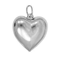Pendant Charm with Jump Ring - Silver Plated - Puffed Heart x 16mm