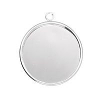 Bezel Pendant With Ring - Medium Round - Silver Plated x 28mm