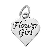 Sterling Silver Charm with Jump Ring- Heart - Flower Girl x 16mm