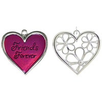 Metal Accent - Forever Friends Double Layered Heart and Flower Pendant - Silver and Fucshia 35x38mm
