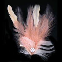 Feather Corsage - Hackle-Chandelle-Coquille Feathers and Diamante