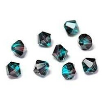 Swarovski Crystal Bicone Beads - Burgundy Blue Zircon 6mm x 10