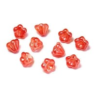 Czech Glass Baby Bell Flower Beads - Orange Sherbert 4/6mm x 20