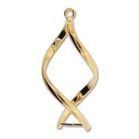 Pinchable Bail With Pegs - Add A Bead Component - Twist Gold Plated x 32mm