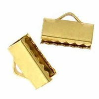 Ribbon Crimp End Fastener - Gold x 16mm
