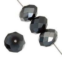 Dazzle-It Ori Crystal Faceted Donut Beads - Jet Hematite 6x4mm