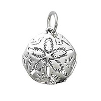 Pendant Charm with Jump Ring - Silver Plated - Sand Dollar x 18mm