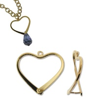 Pinchable Bail With Pegs - Add A Bead Component - Heart Gold Plated x 26.5mm