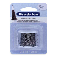 Cotton Tassel Cord By Beadalon - Metallic Silver On Black x 20m