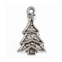 Metal Charm - Antique Silver Small Xmas Tree x 24mm